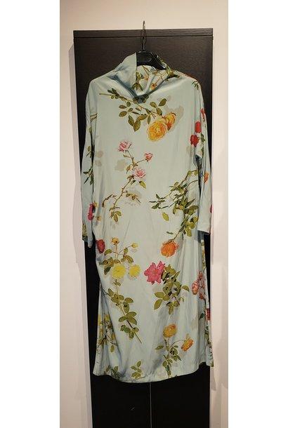 Dress - Flowers Aqua - Sz 38