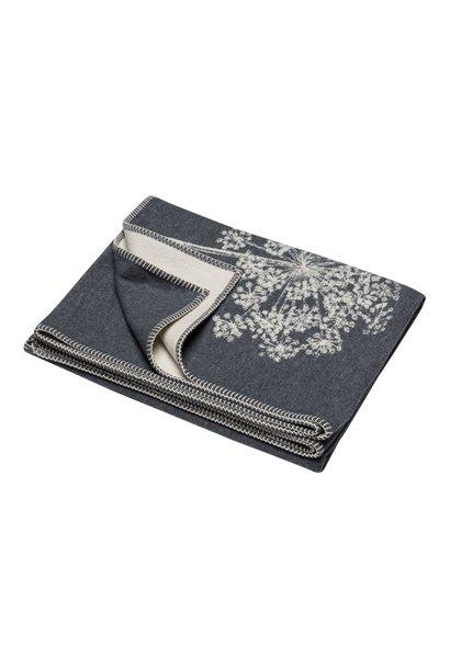 Cotton Throw - Floral - Grey