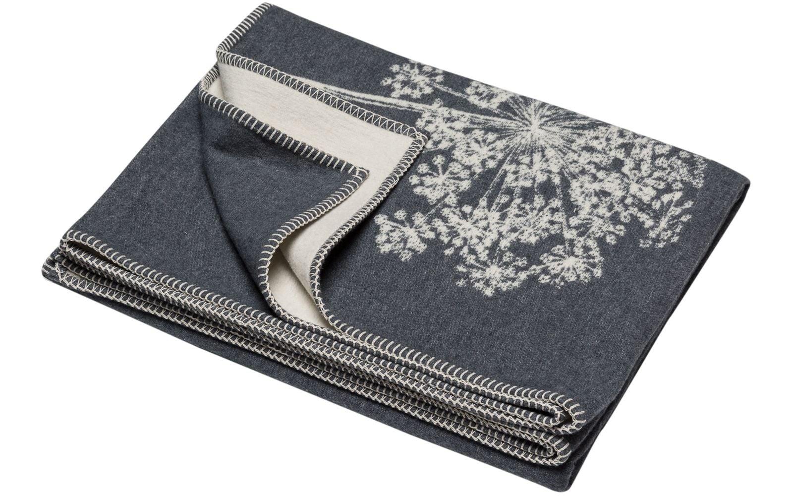 Cotton Throw - Floral - Grey-1