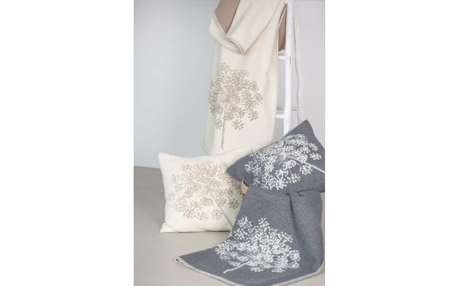 Cotton Throw - Floral - Grey-2