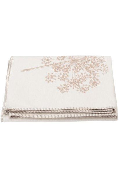 Cotton Throw - Floral - Ecru