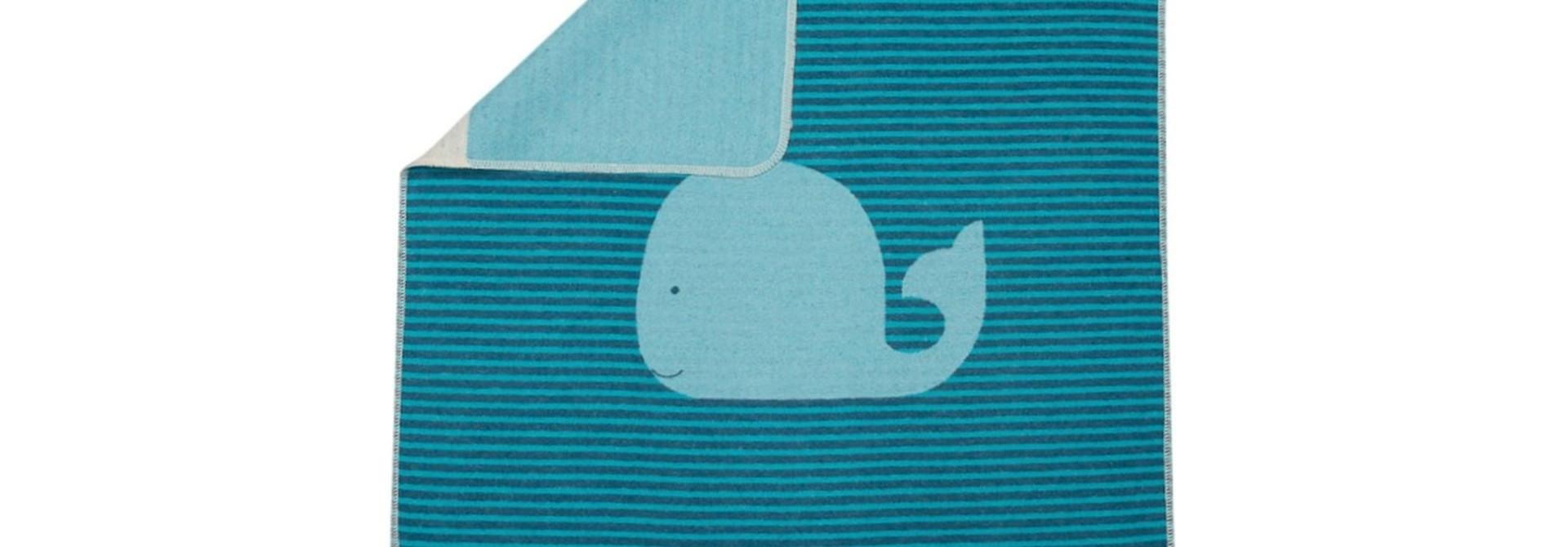 Baby Blanket - Whale - Turq. Stripes