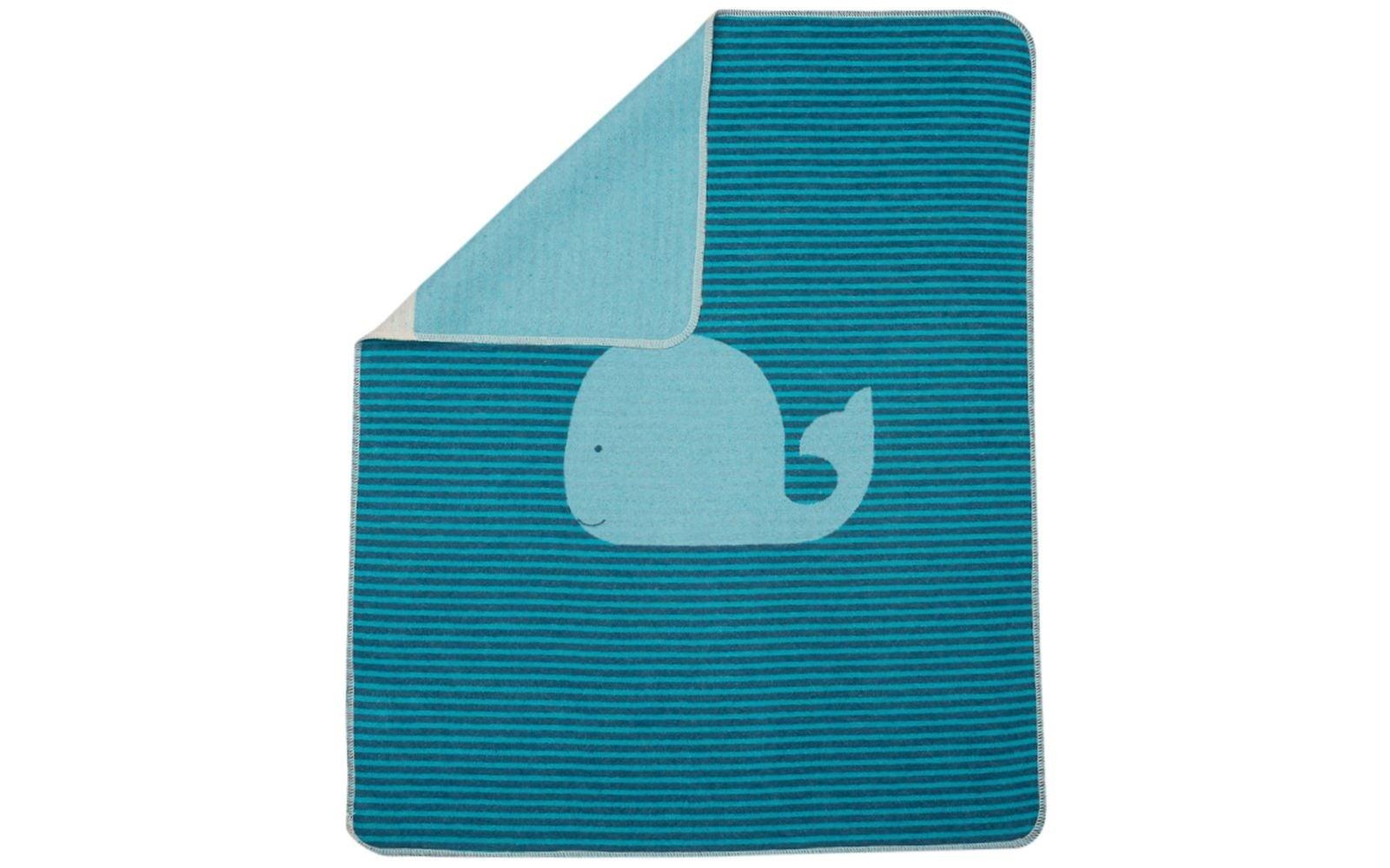 Baby Blanket - Whale - Turq. Stripes-1