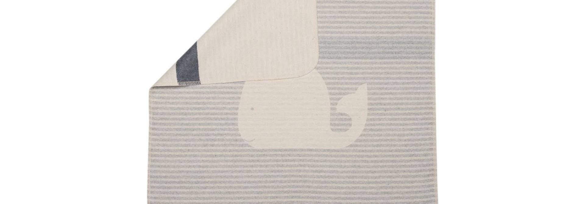 Baby Blanket - Whale - Grey Stripes