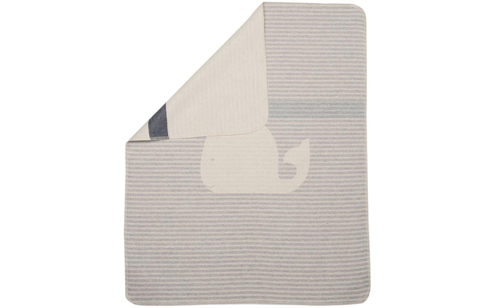 Baby Blanket - Whale - Grey Stripes-1