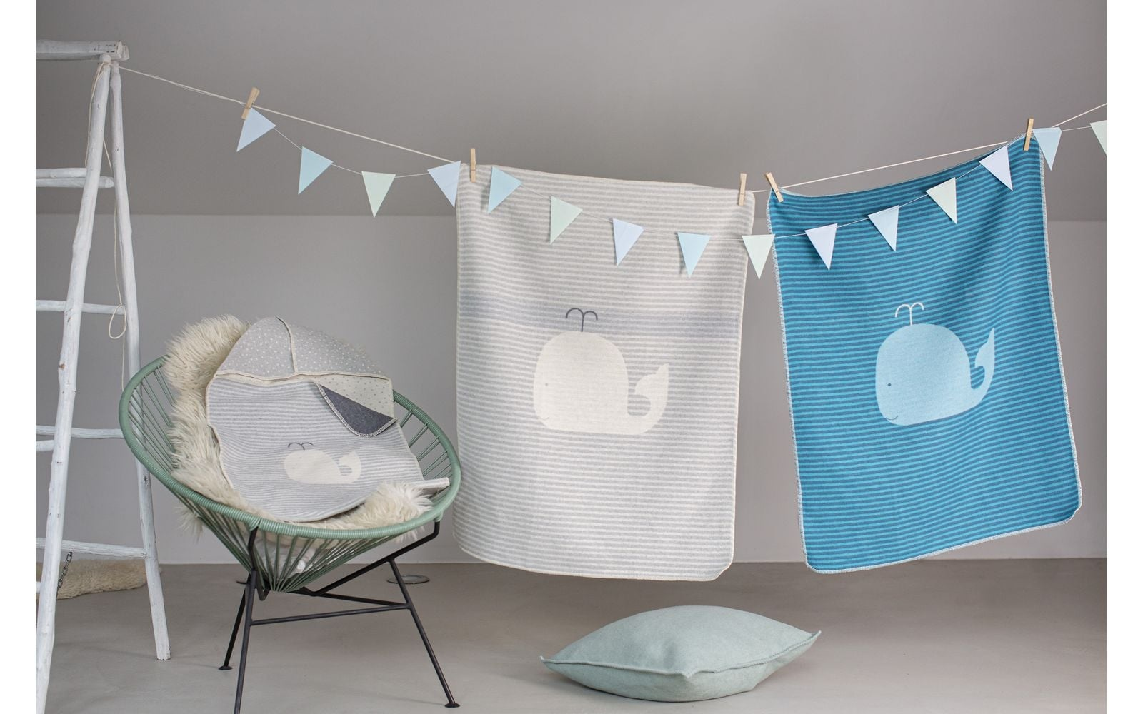 Baby Blanket - Whale - Grey Stripes-2