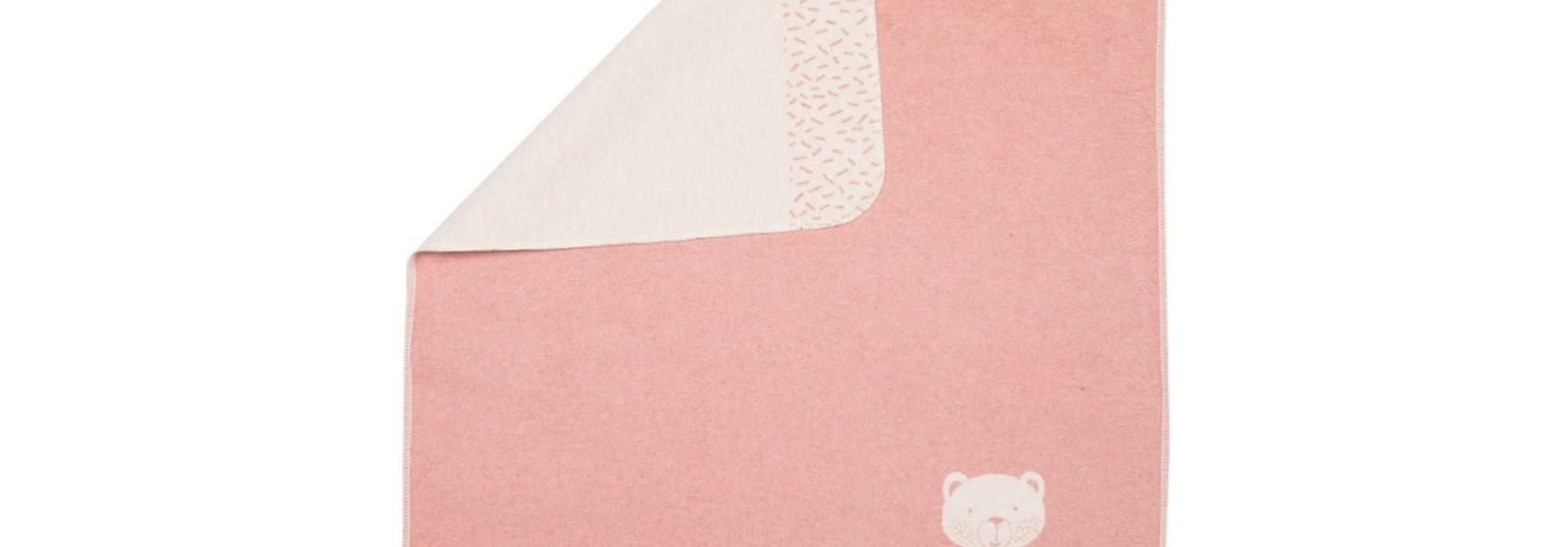Baby Blanket - Bear in Corner - Rose