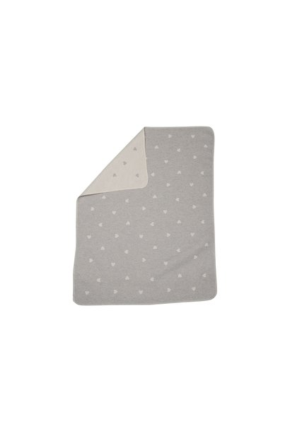 Baby Blanket - Hearts - Grey