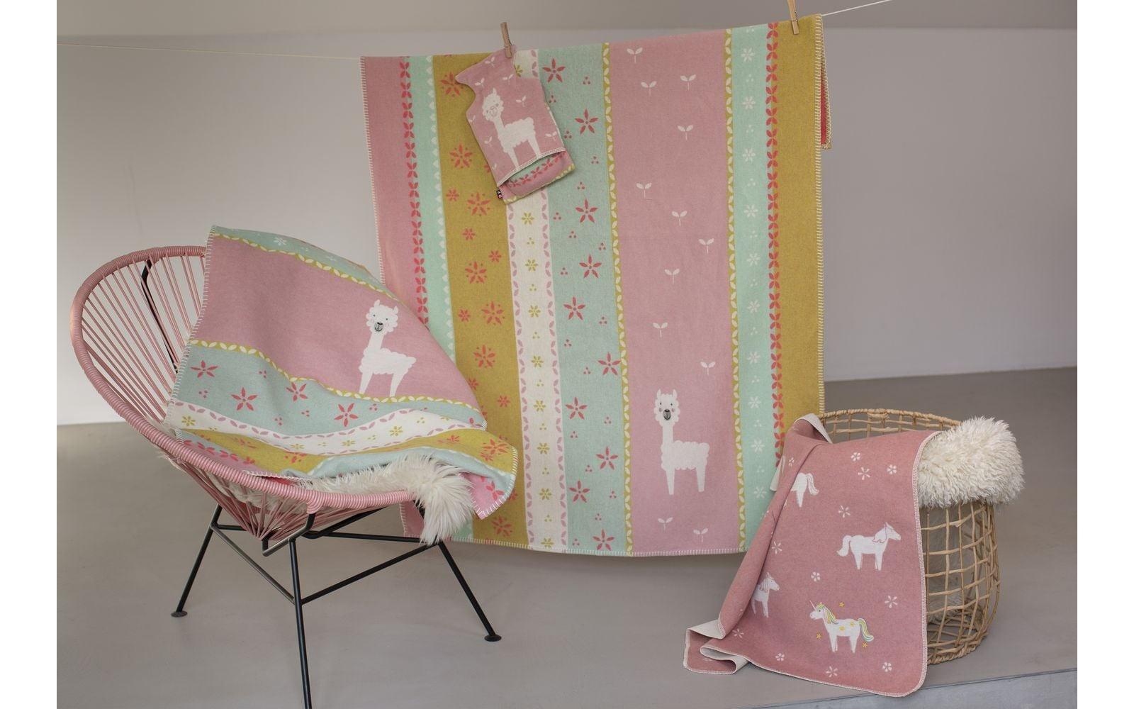 Blanket - Llamas - Rose-2