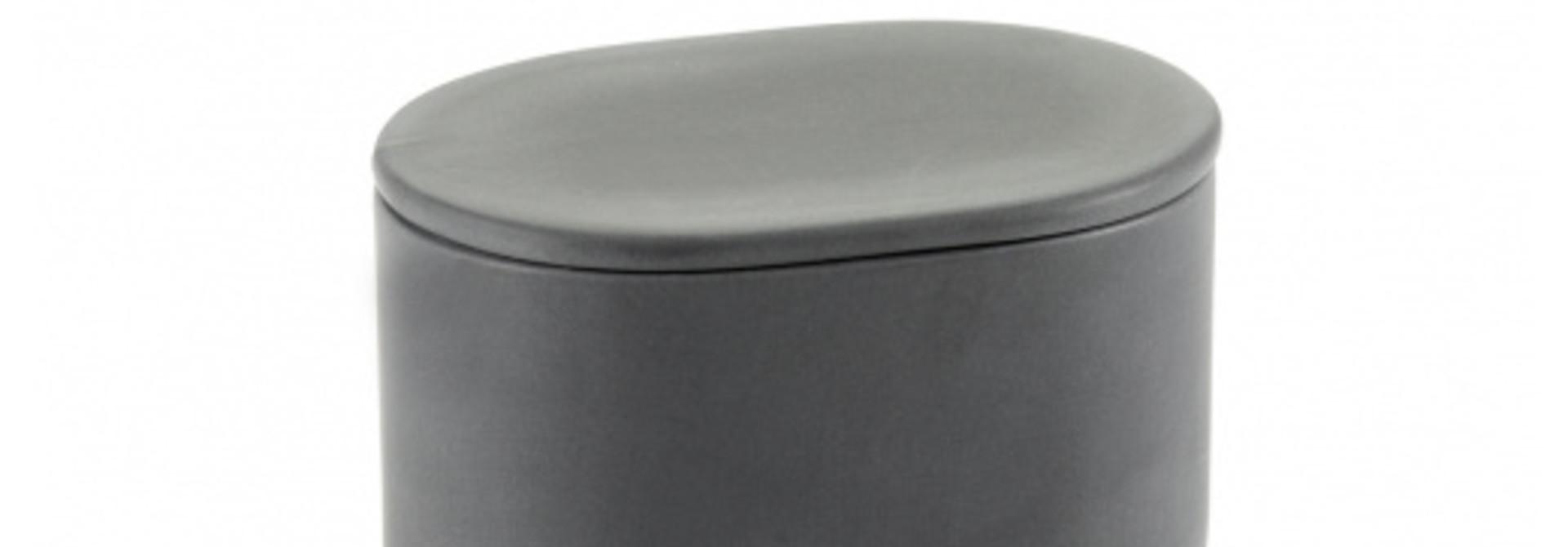 Oval Box w/Lid - Cose - Dk Grey