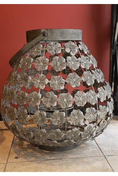 Lantern - Flowers - Grey