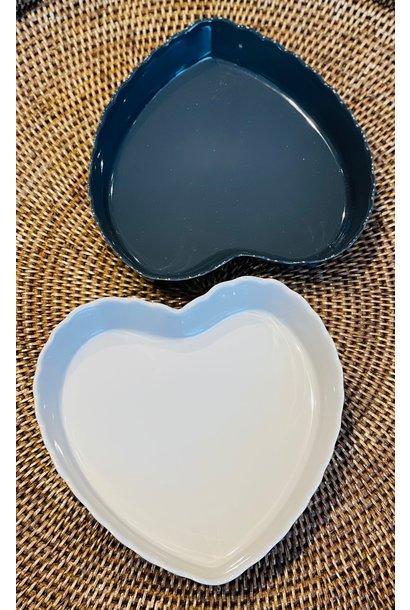 Feston Oven Dish - Heart - Dk Grey