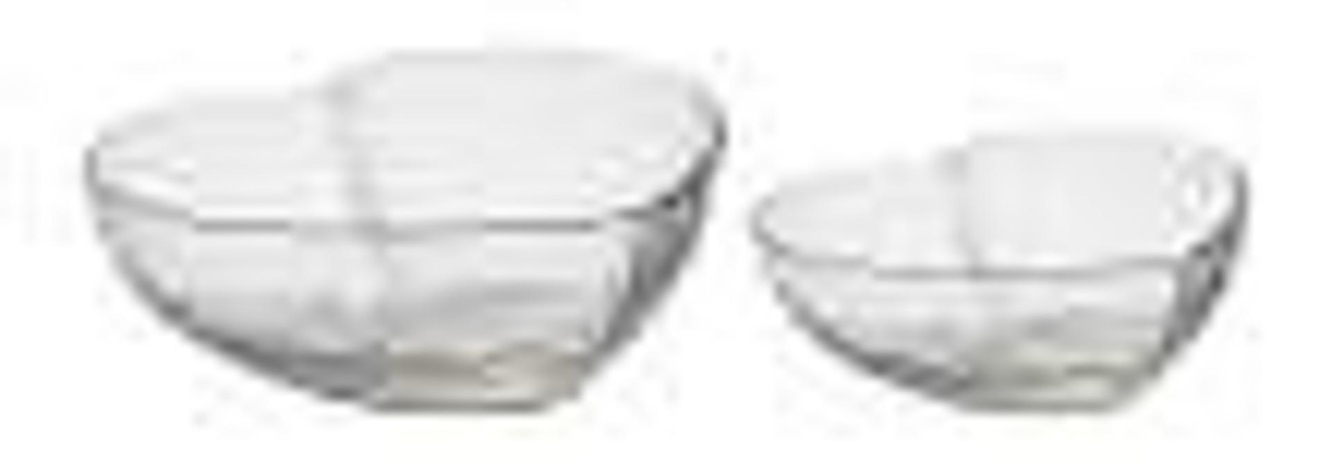 Heart Glass Bowls - Set of 2