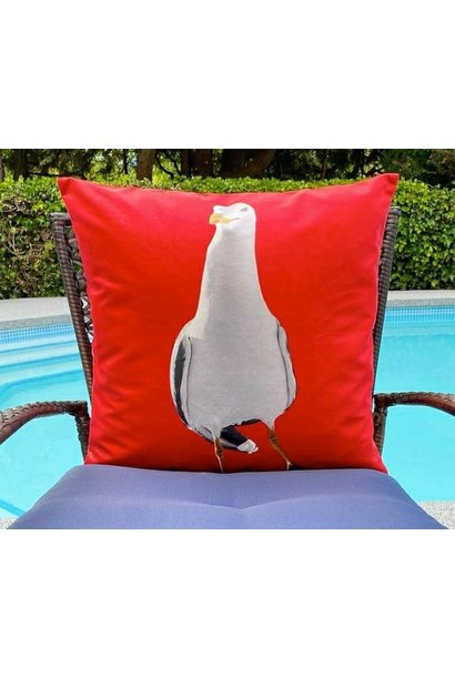 Outdoor Cushion - Dancing Seagull - Red