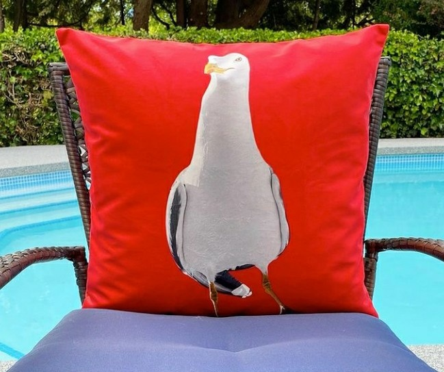 Outdoor Cushion - Dancing Seagull - Red-1