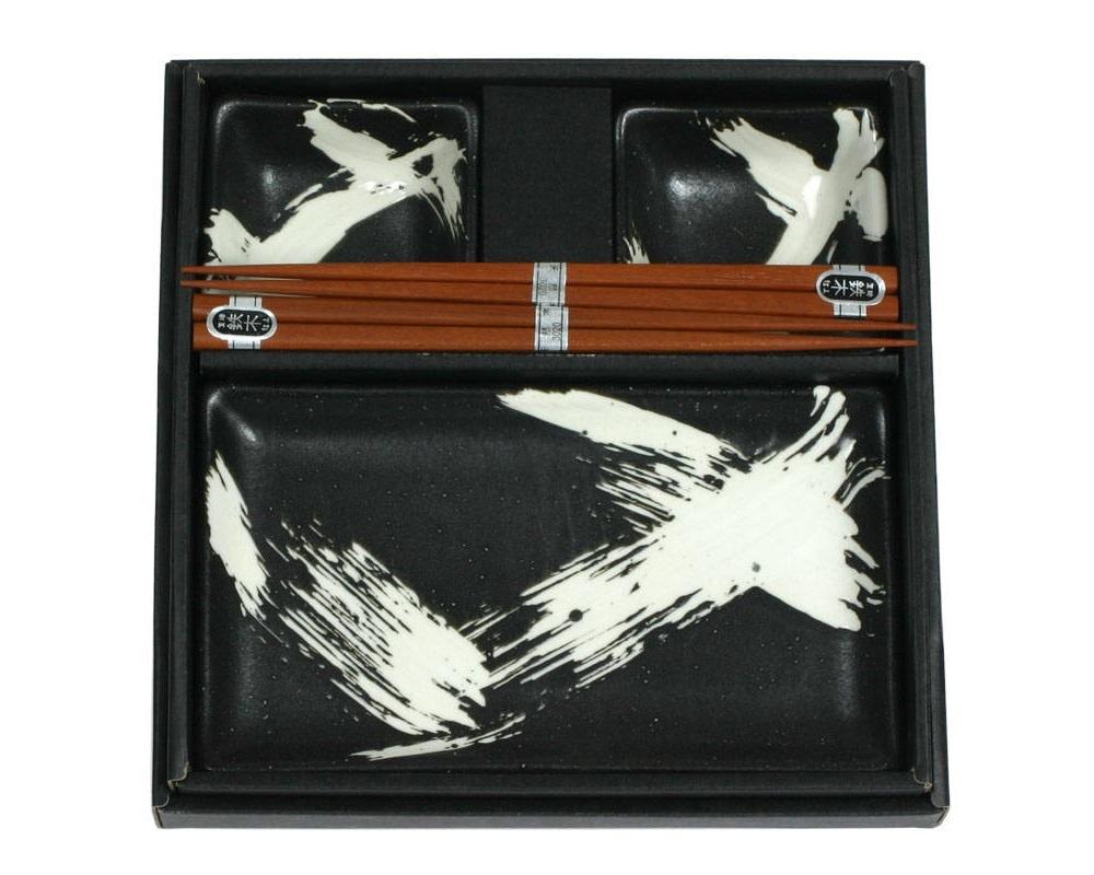Sushi for Two Set - Black Brush-1