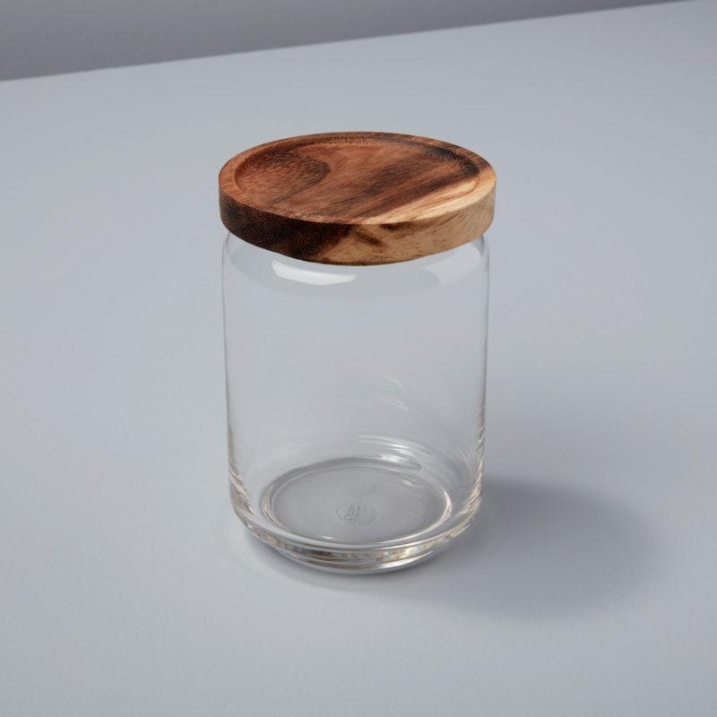 Glass & Acacia Canister, Medium-1