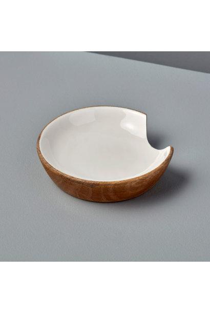 Mango Wood & White Enamel Spoon Rest