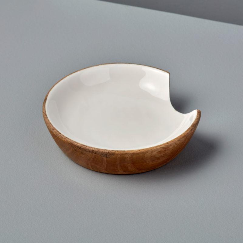 Mango Wood & White Enamel Spoon Rest-1