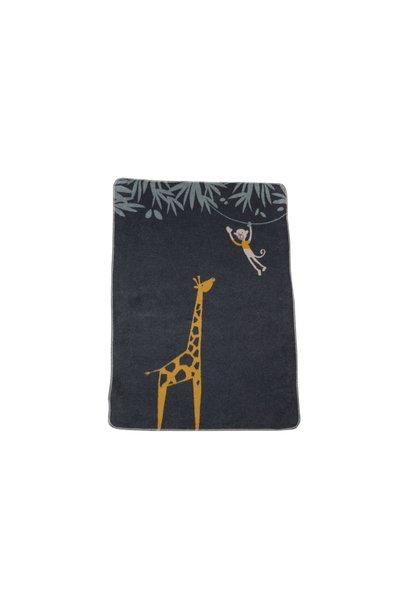 Child's Blanket - Giraffe/Monkey - Charcoal