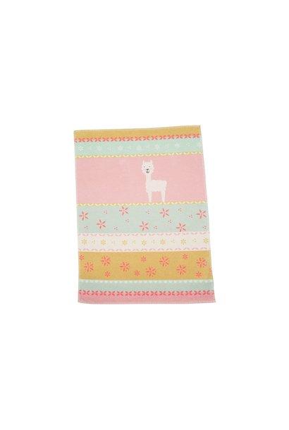 Baby Blanket - Llama - Mint/Rose