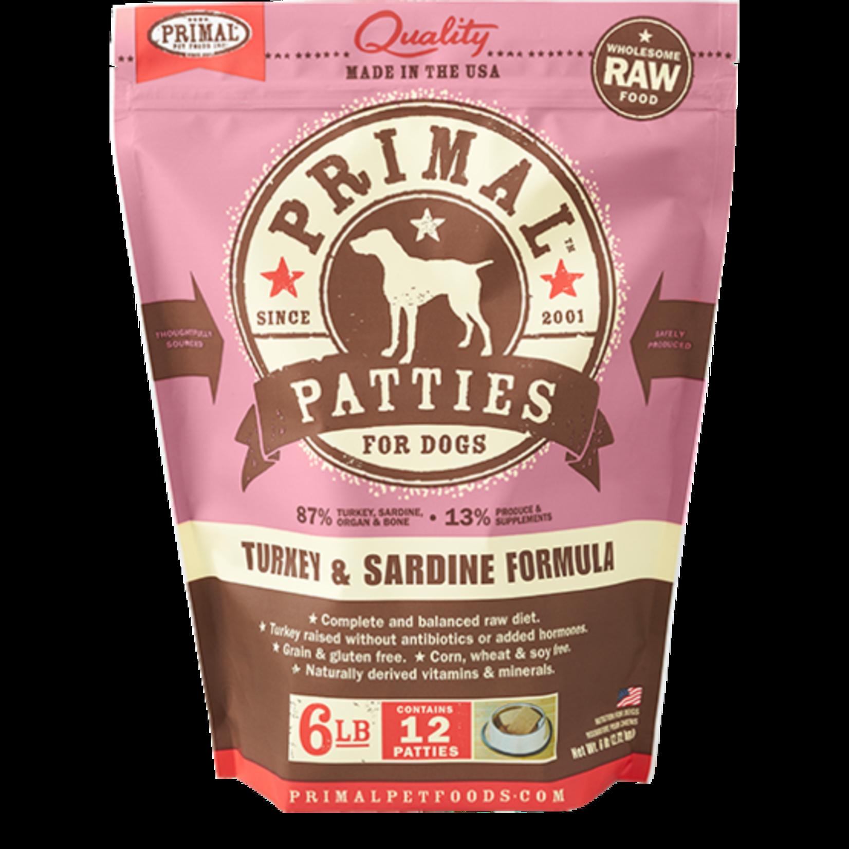 Primal Pet Foods Primal Dog Frozen  Turkey & Sardine 6#