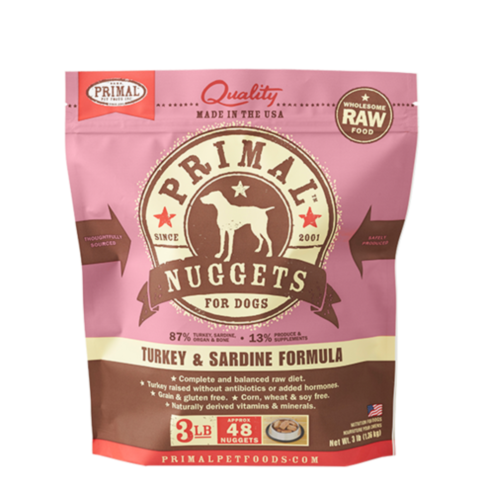 Primal Pet Foods Primal Dog Frozen Turkey & Sardine Nuggets 3#