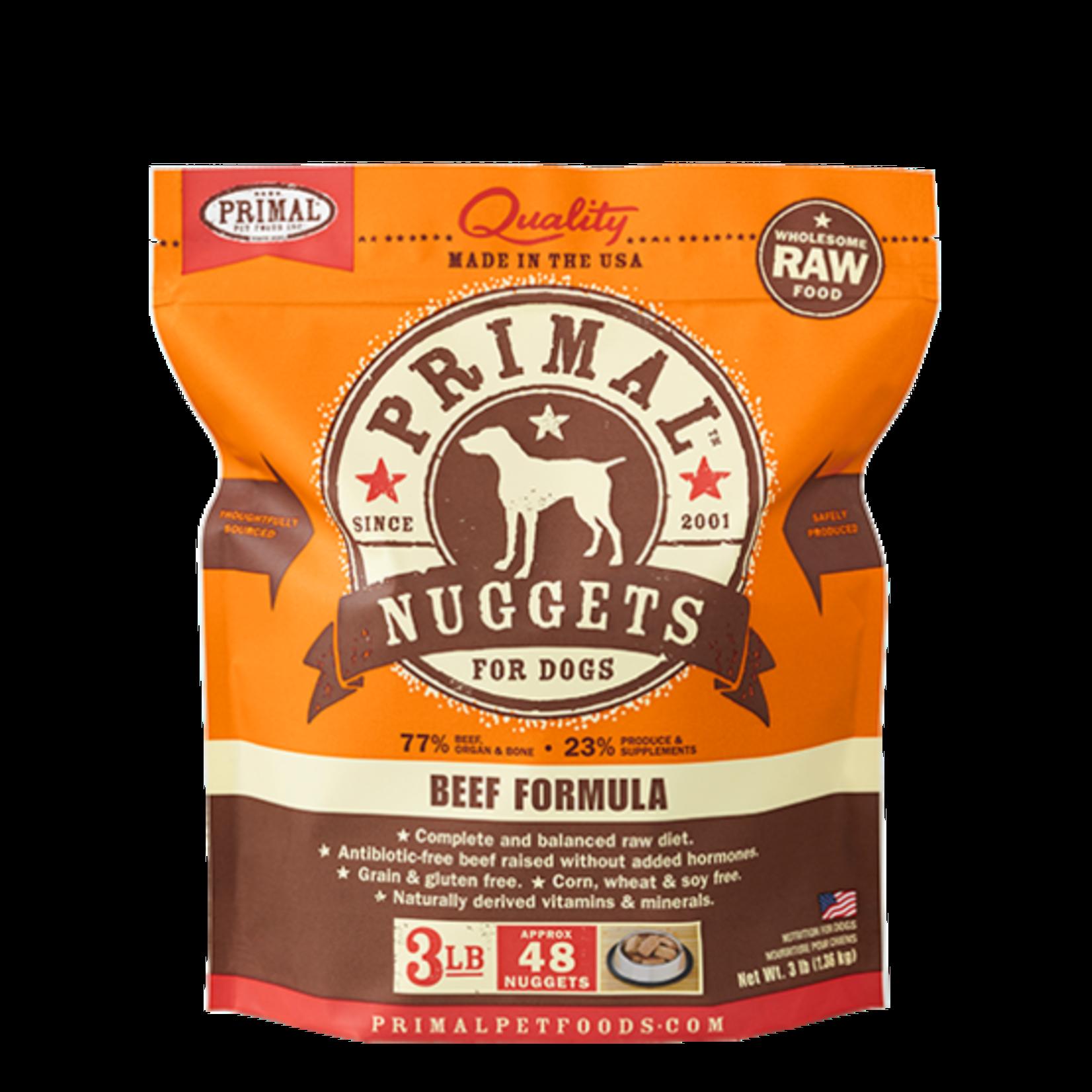 Primal Pet Foods Primal Dog Frozen Beef Nuggets 3#
