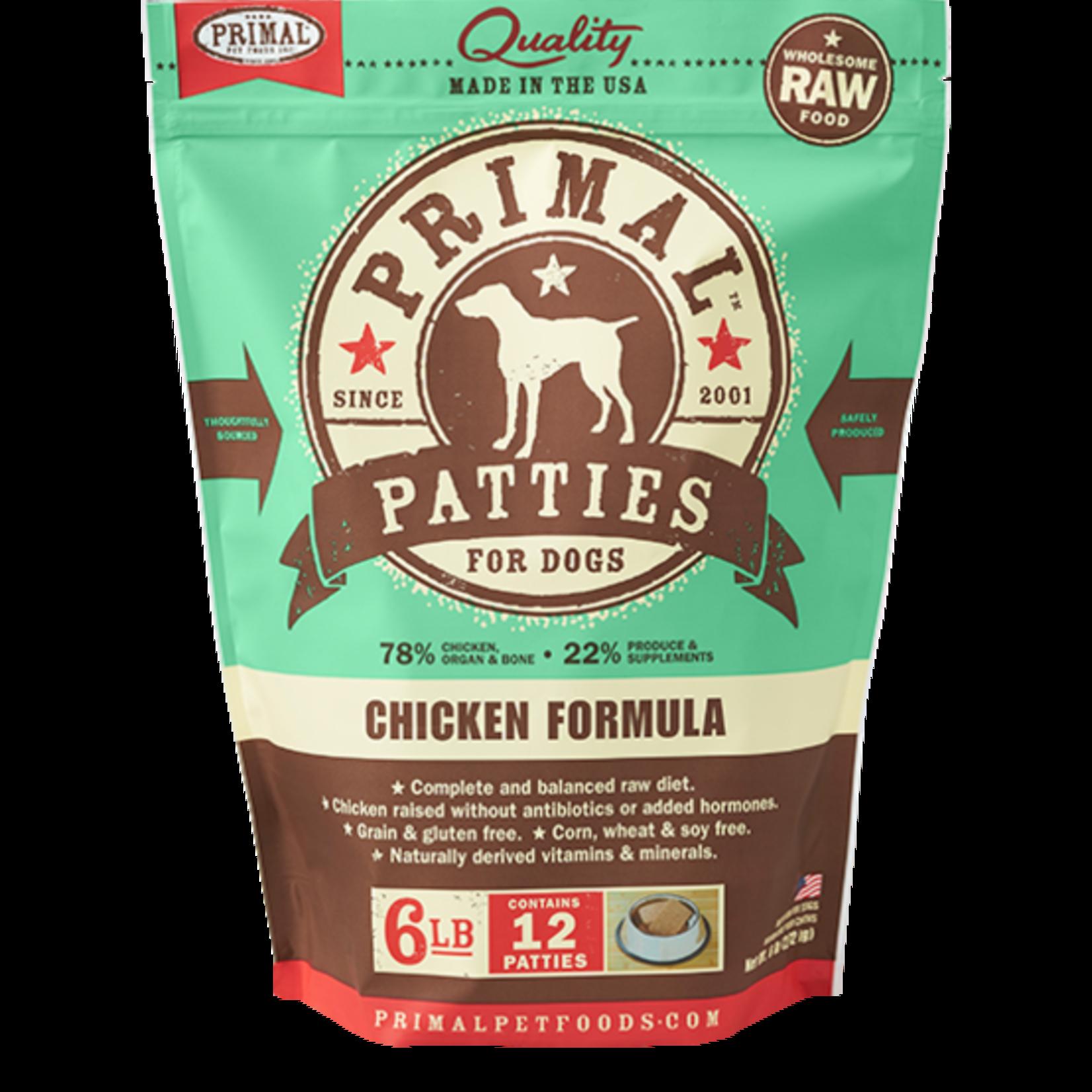 Primal Pet Foods Primal Dog Frozen Chicken Patties 6#