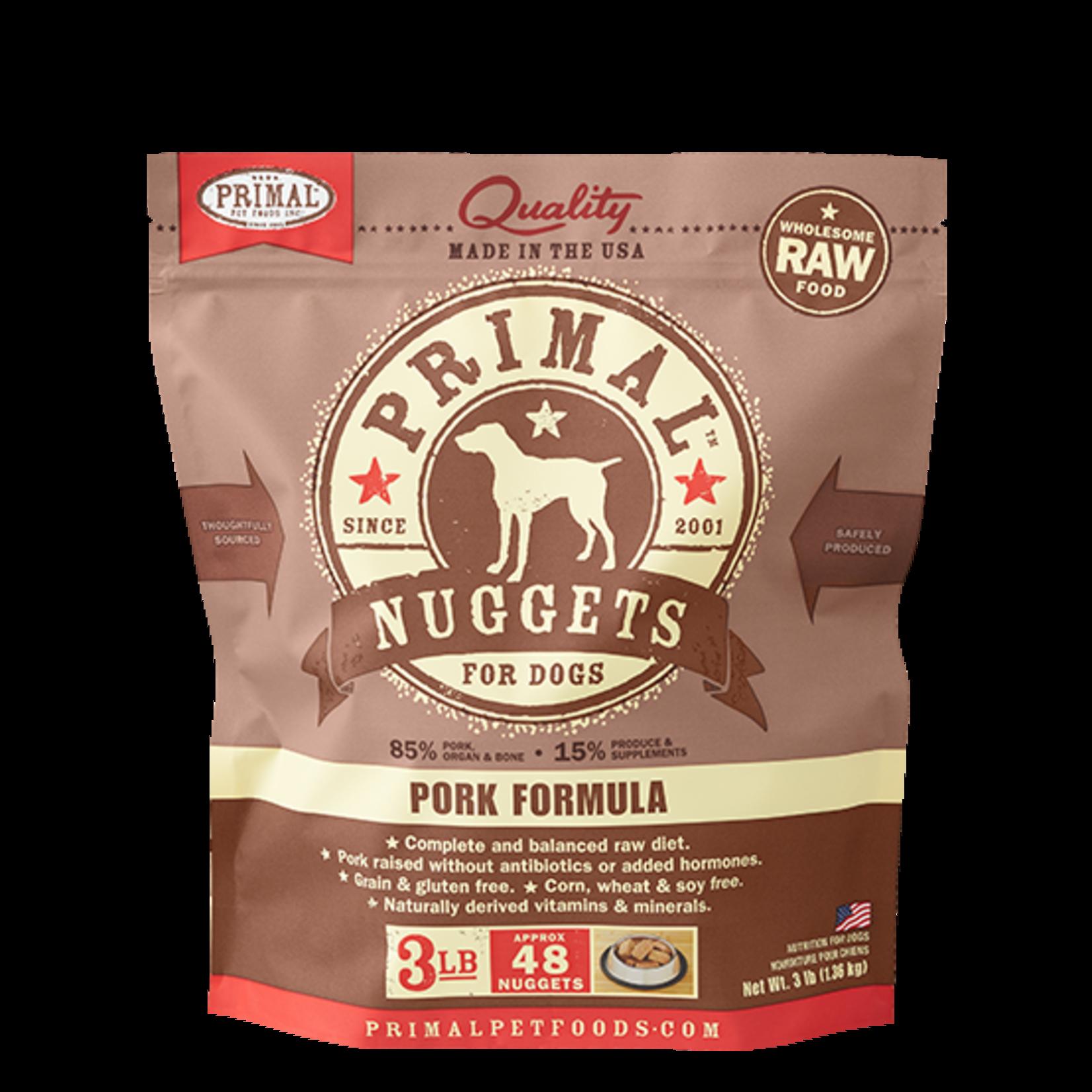 Primal Pet Foods Primal Dog Frozen Pork Nuggets 3#