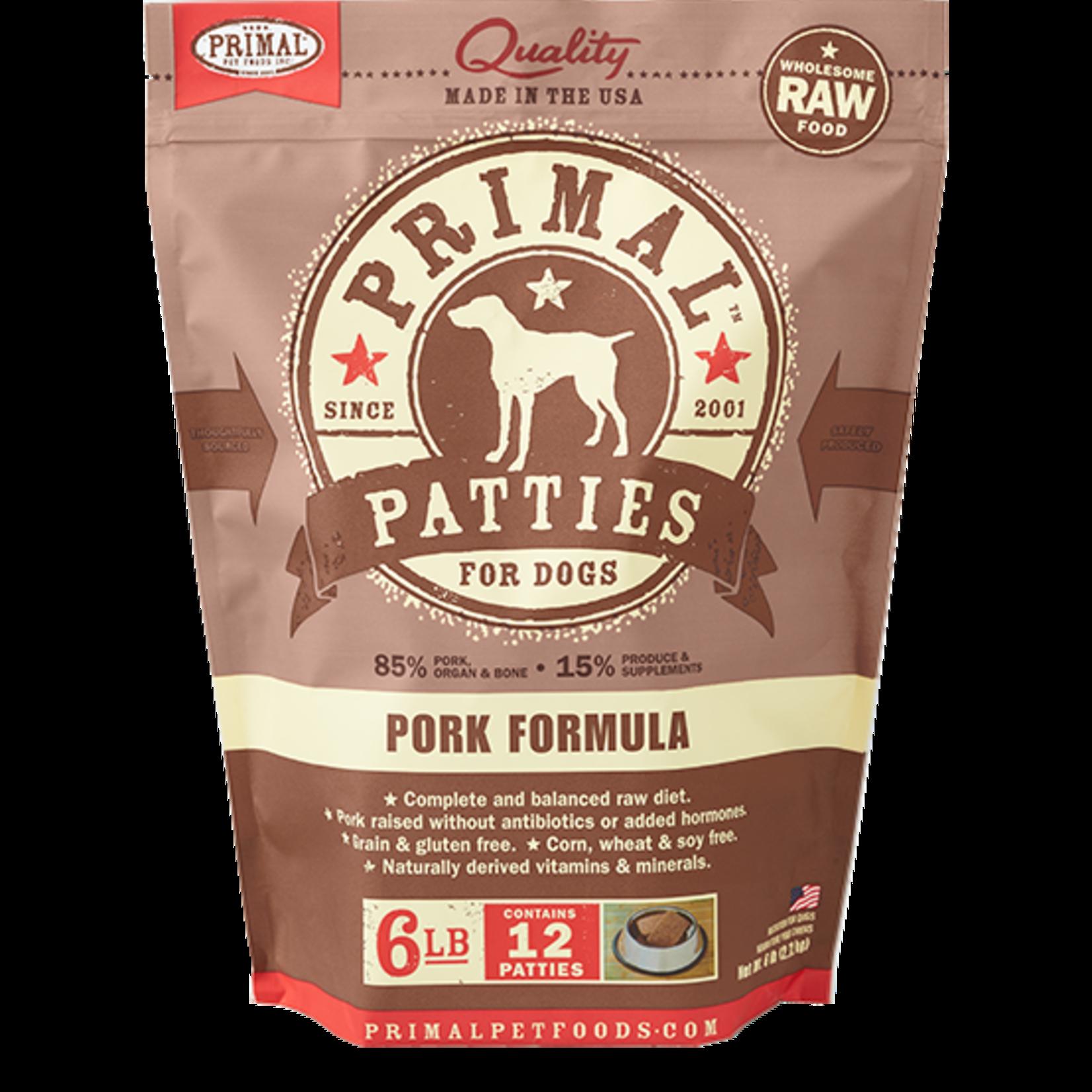Primal Pet Foods Primal Dog Frozen Pork Patties 6#