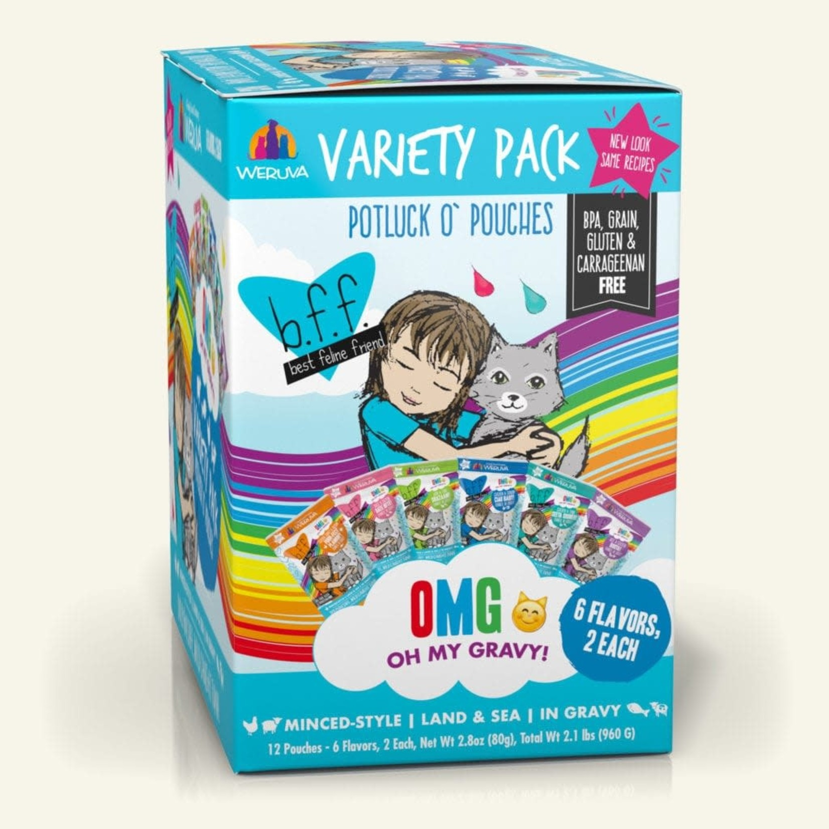 Weruva BFF OMG Cat Land & Sea Potluck Variety Pack 12 - 2.8 OZ Pouches