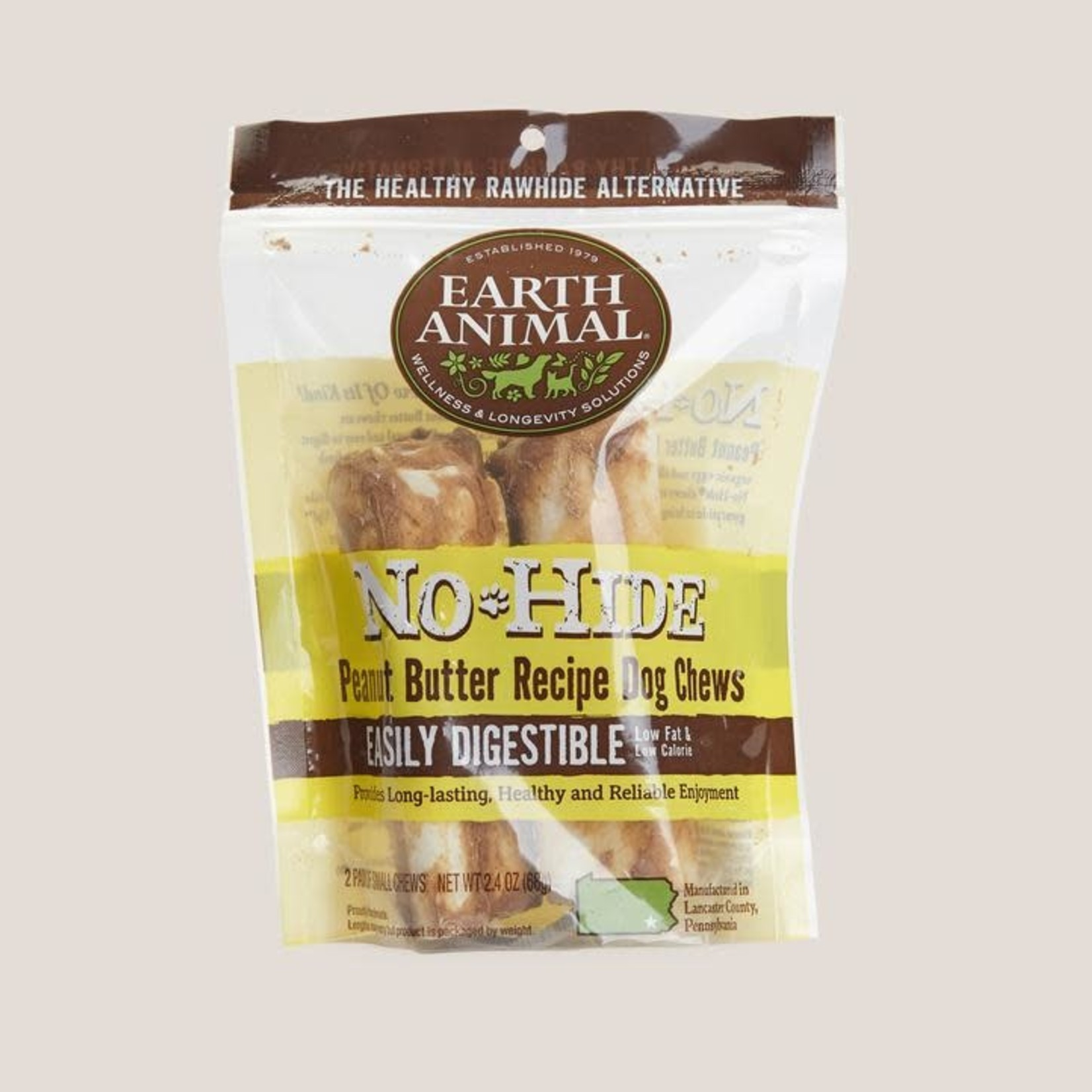"""Earth Animal Earth Animal Dog No Hide Peanut Butter 4"""" 2 PACK"""