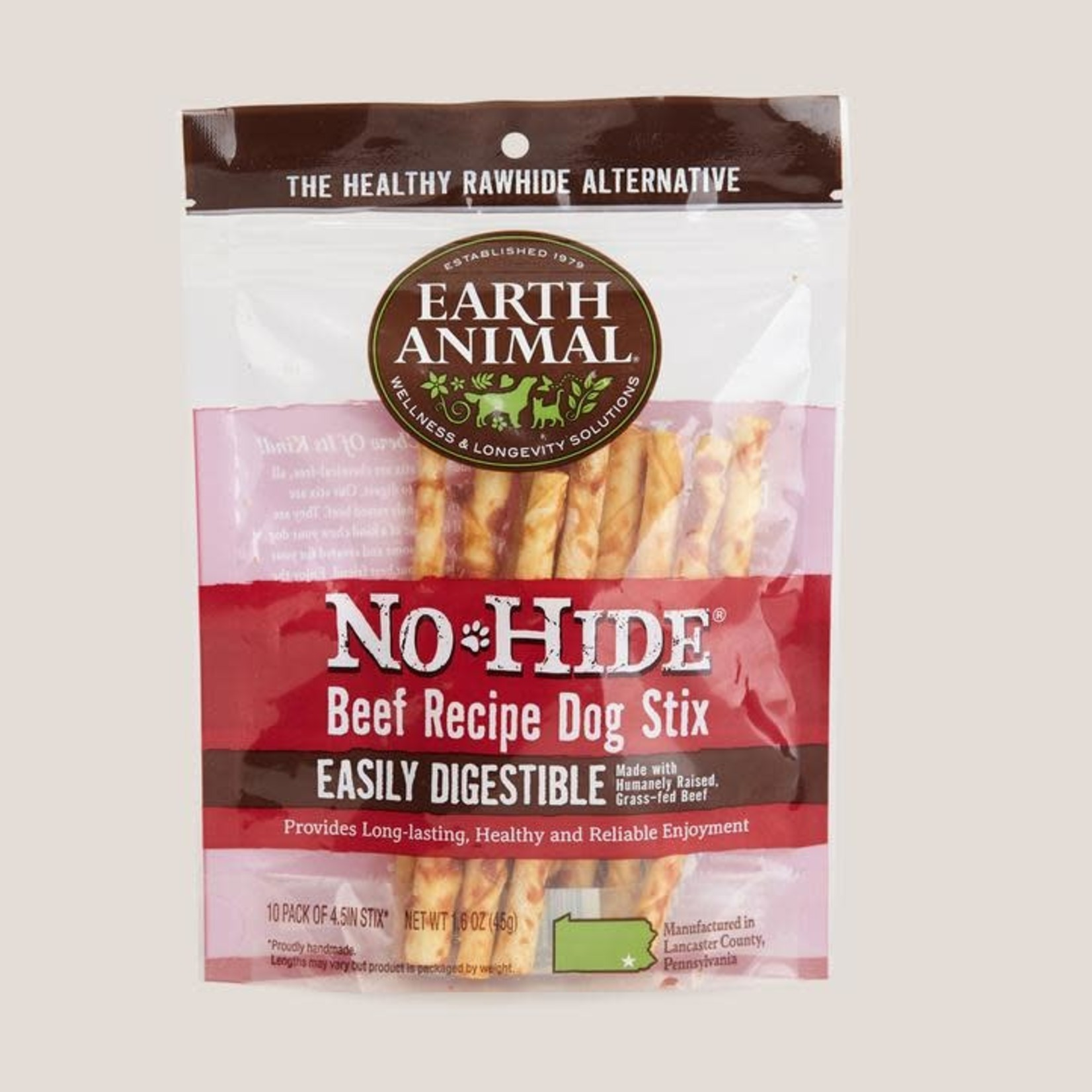 Earth Animal Earth Animal Dog No Hide Beef Stix 10 PACK