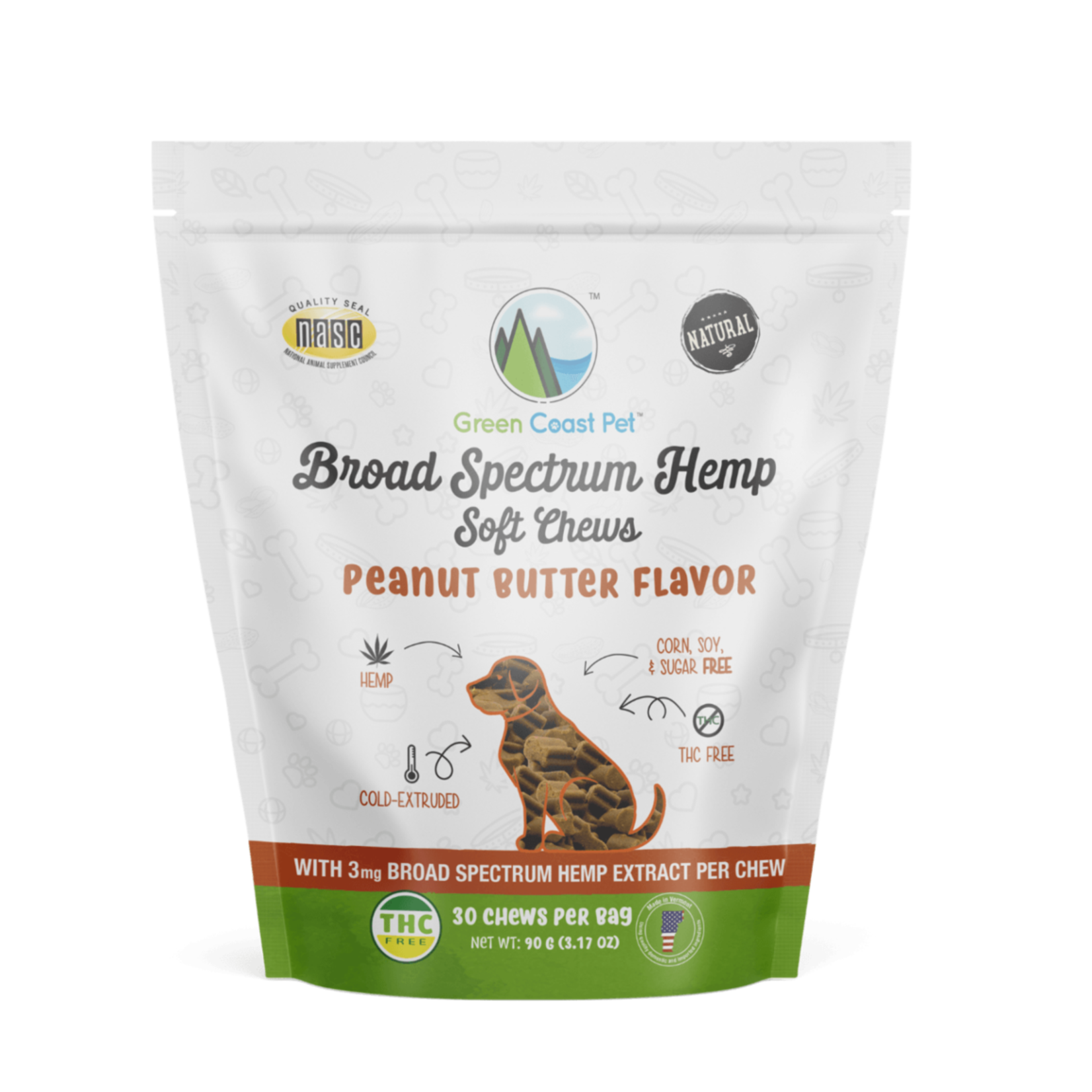 Green Coast Pet Green Coast Pet Dog Full-Spectrum Hemp Soft Chews Peanut Butter 30 Count