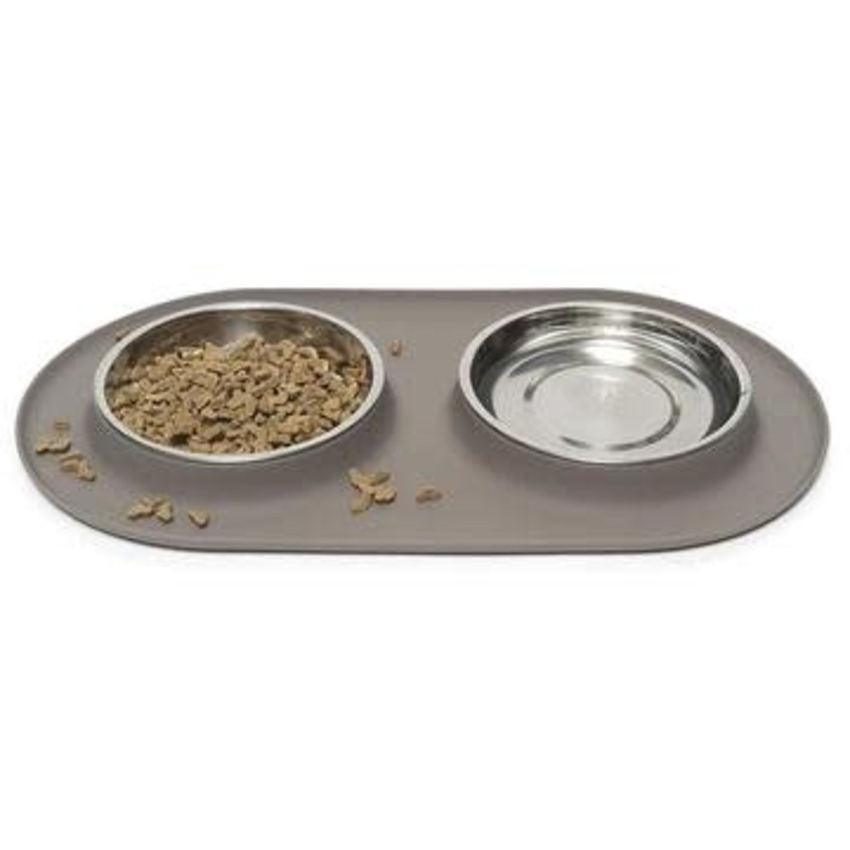 Messy Mutts Messy Mutts Cat Double Silicone Feeder Grey