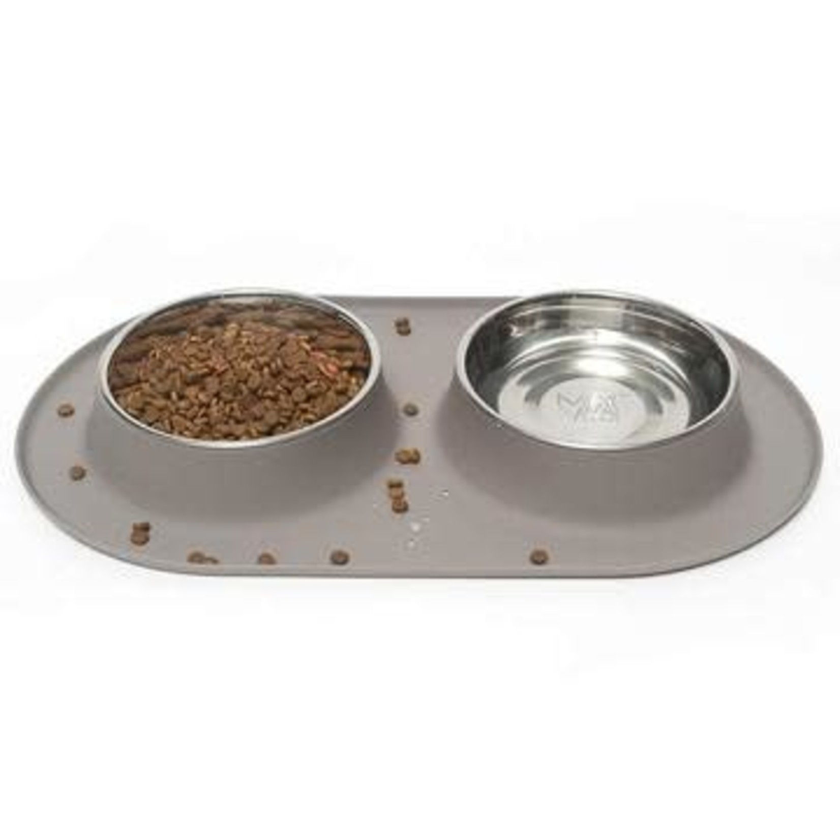 Messy Mutts Messy Mutts Dog Double Silicone Feeder Grey 3 CUP