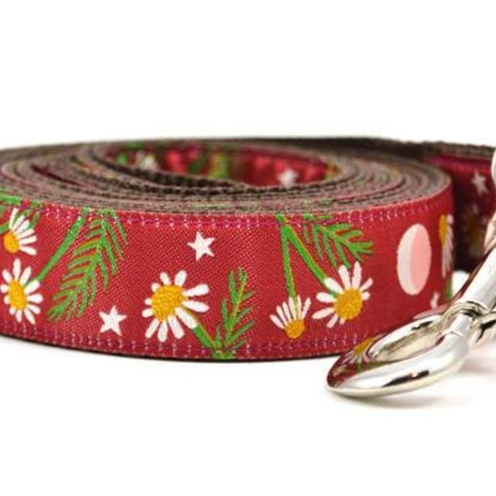 Six Point Pet Six Point Pet Chamomile Flower Lead Burgandy Large
