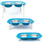 Messy Mutts Messy Mutts Dog Elevated Double Feeder Blue