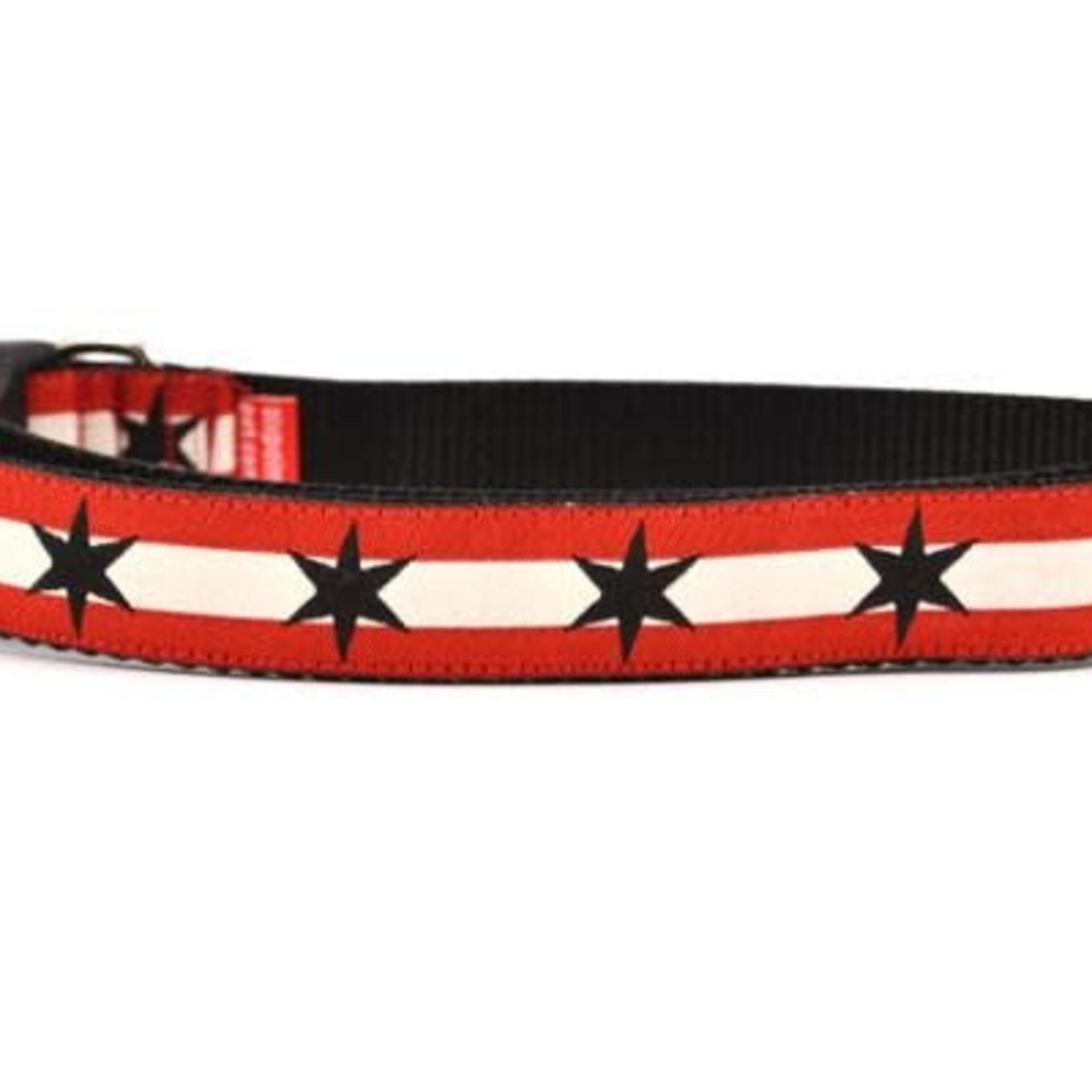 Six Point Pet Six Point Pet Chicago Flag Red/Black Collar Medium
