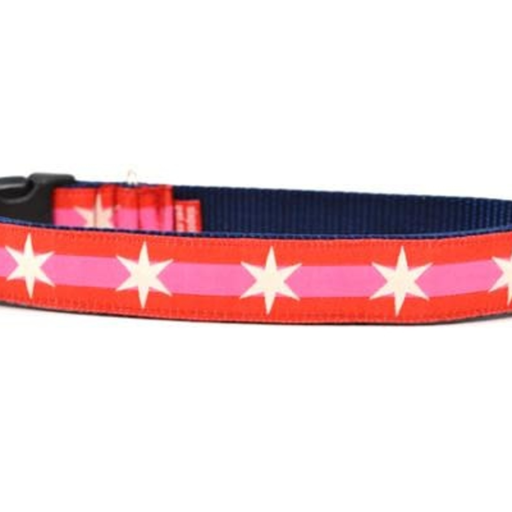 Six Point Pet Six Point Pet Chicago Flag Red/Pink Collar Medium