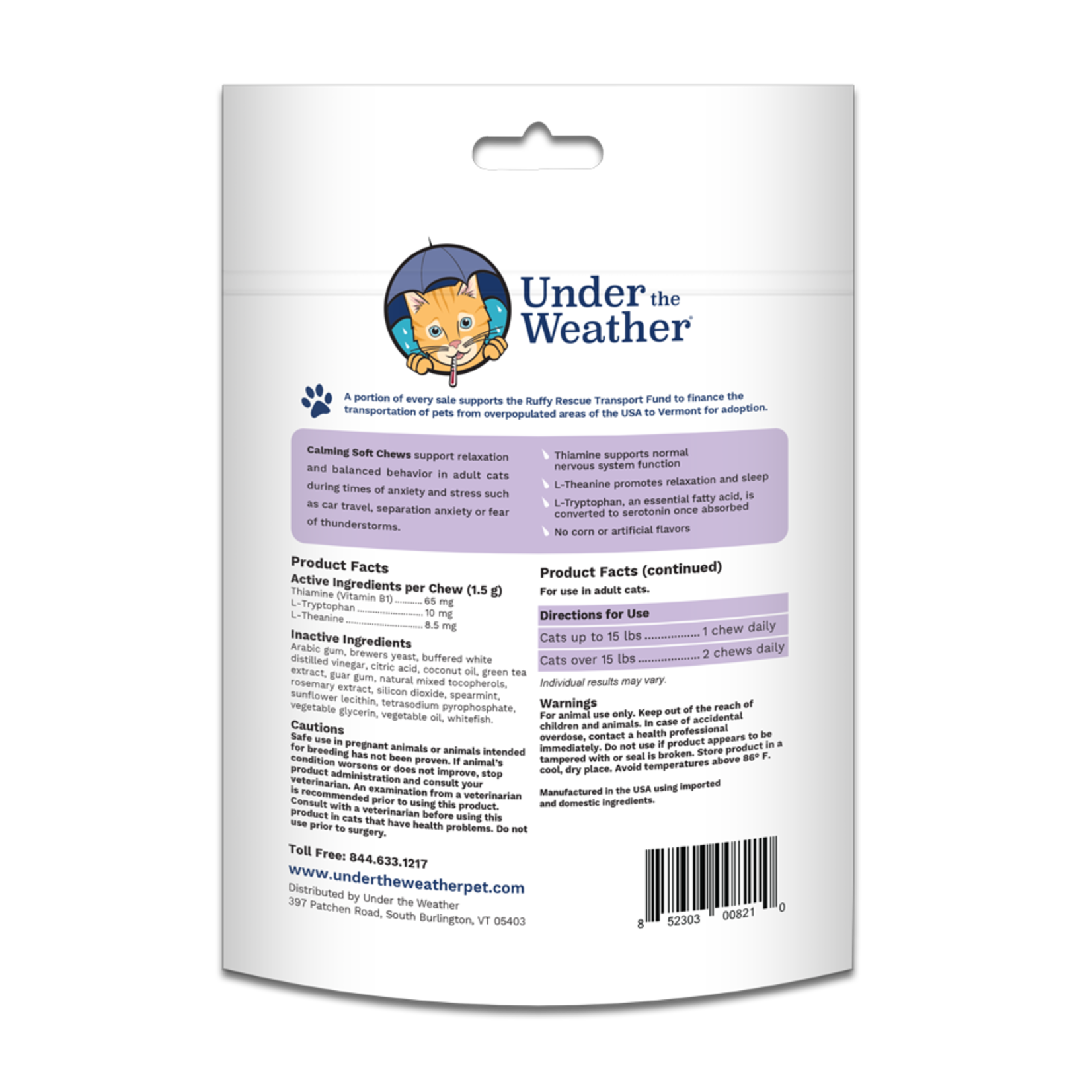 Under The Weather Under The Weather Cat Calming Chews 90 Count