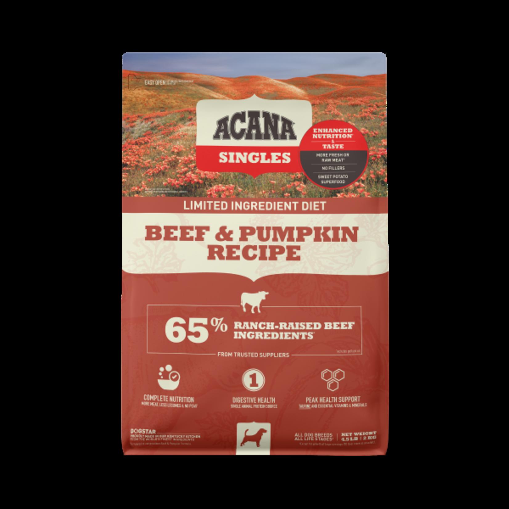 Champion Pet Foods Acana Dog Singles Beef & Pumpkin 4.5#