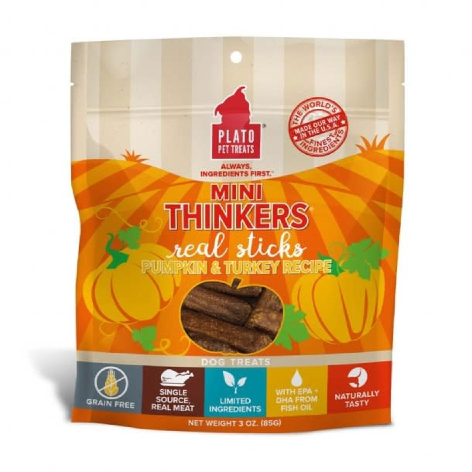 Plato Pet Treats Plato Dog Mini Thinkers Turkey & Pumpkin 3 OZ
