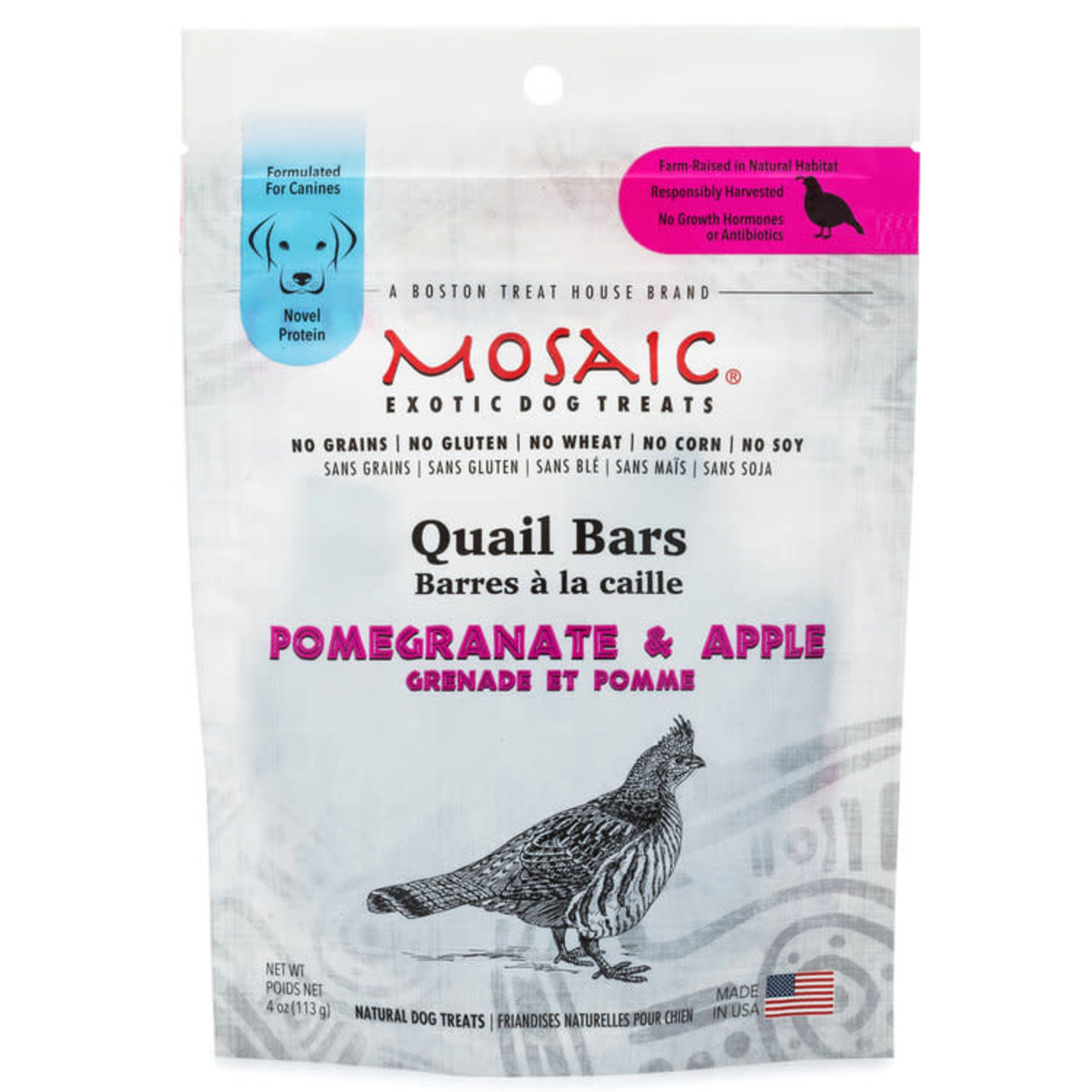 Mosaic Mosaic Dog Quail Bars Pomegranate & Apple 4 OZ