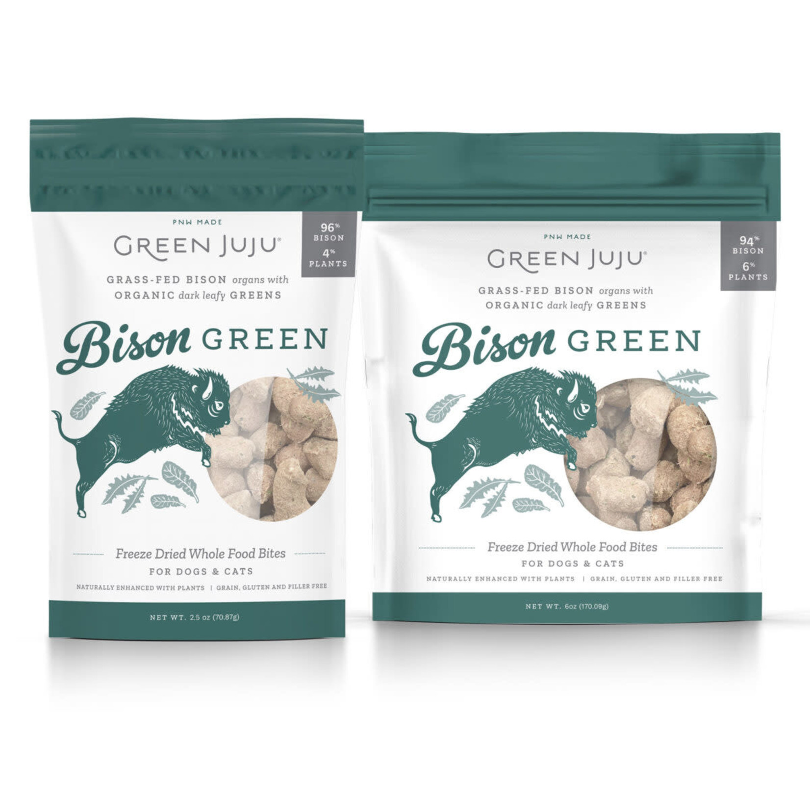 Green Juju Freeze-dried Super Food Bites Bison Green 2.5 OZ