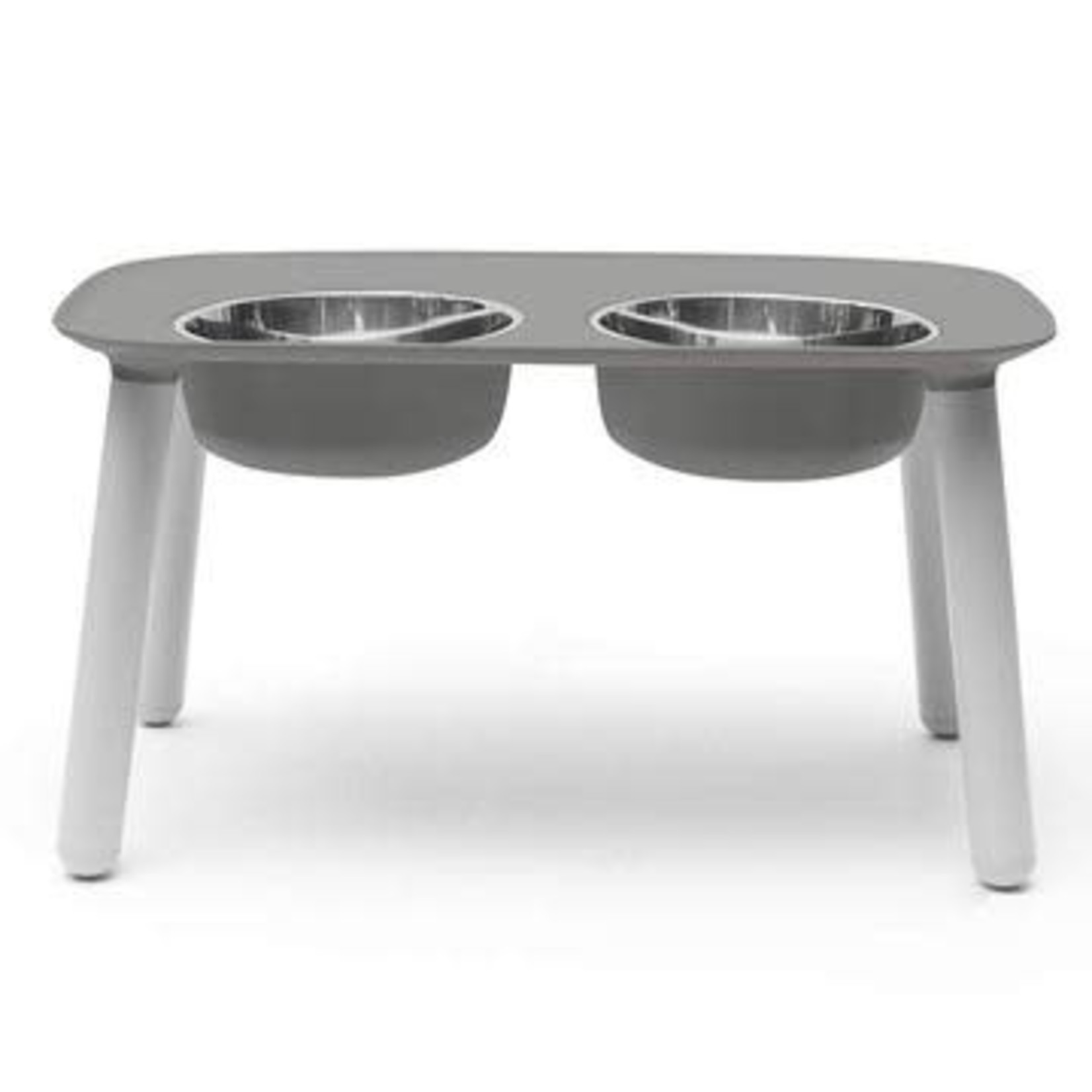 Messy Mutts Messy Mutts Dog Elevated Double Feeder Grey