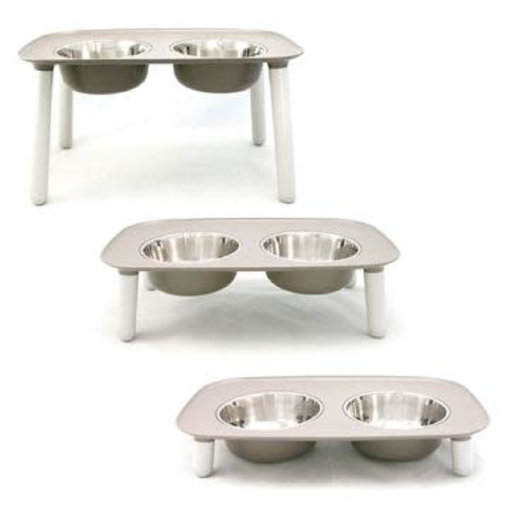 Messy Mutts Messy Mutts Dog Elevated Double Feeder Light Grey