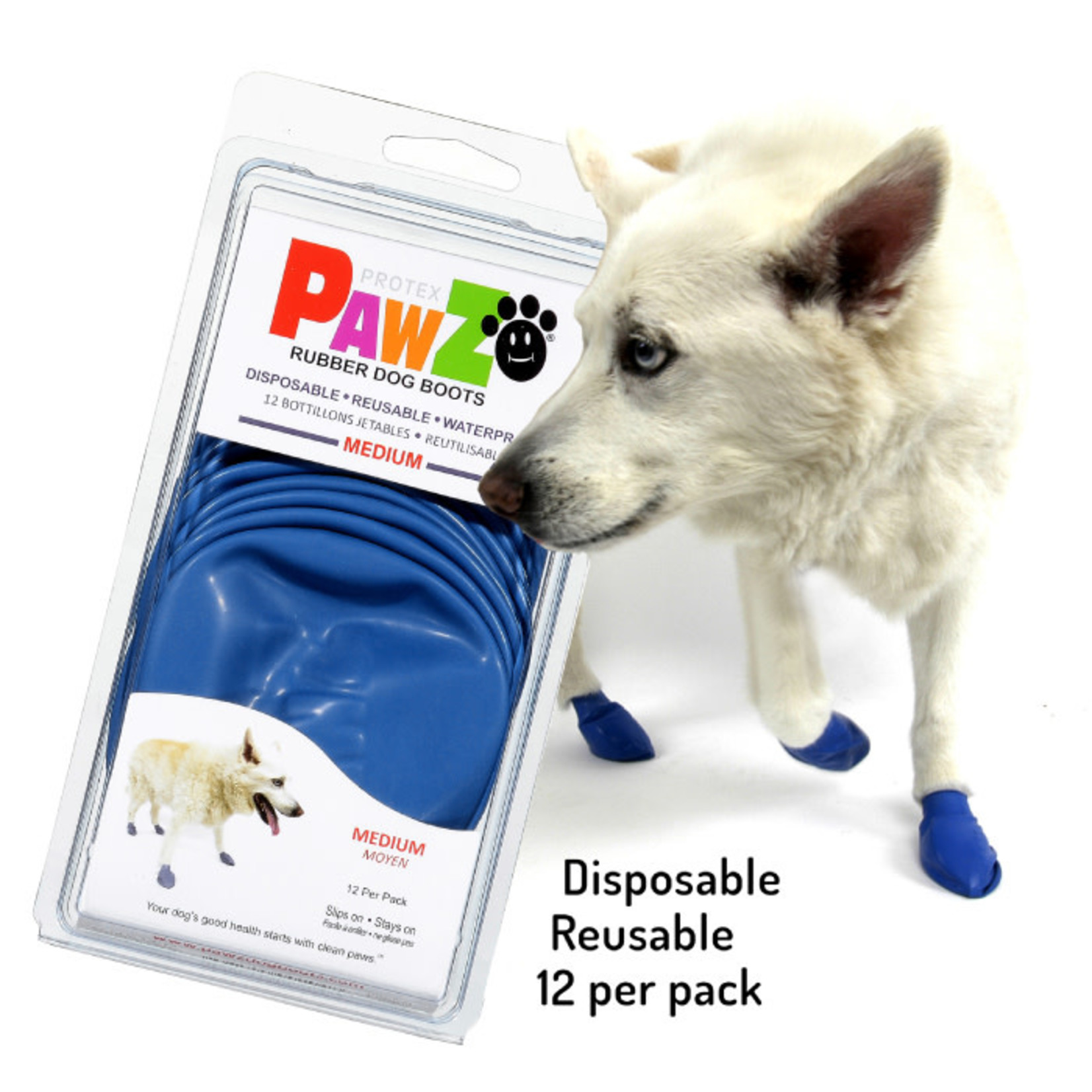PAWZ Dog Boots Blue Medium 12 Pack