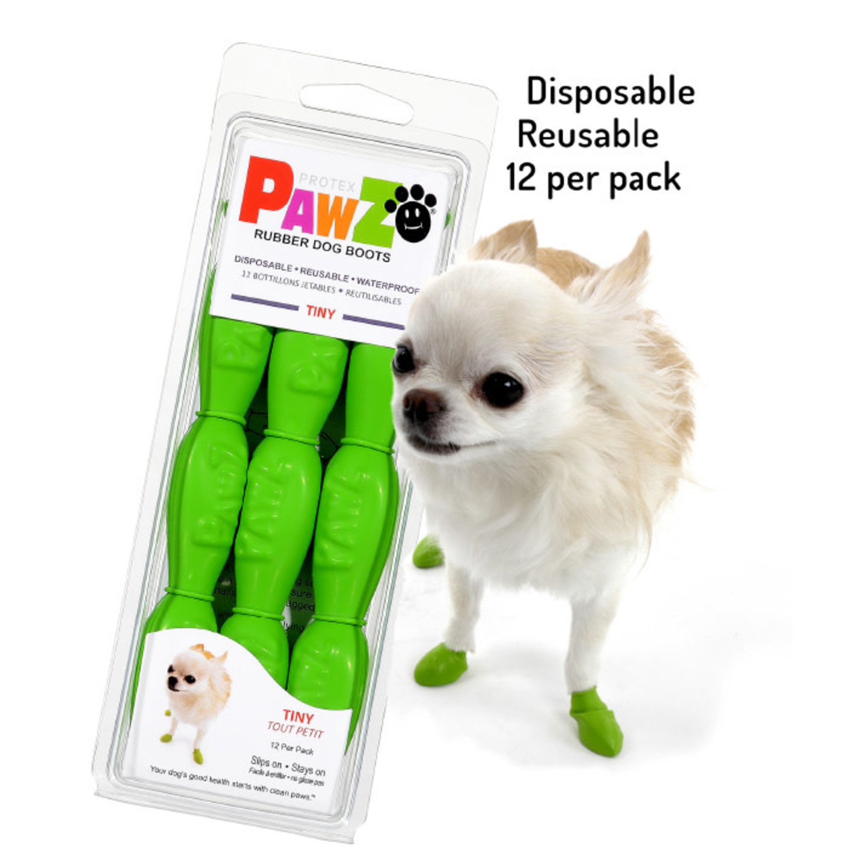 PAWZ Dog Boots Green Tiny 12 Pack